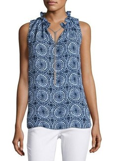 MICHAEL Michael Kors Ruffle-Neck Sleeveless Top