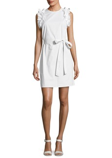 MICHAEL Michael Kors Ruffle-Shoulder Belted Dress