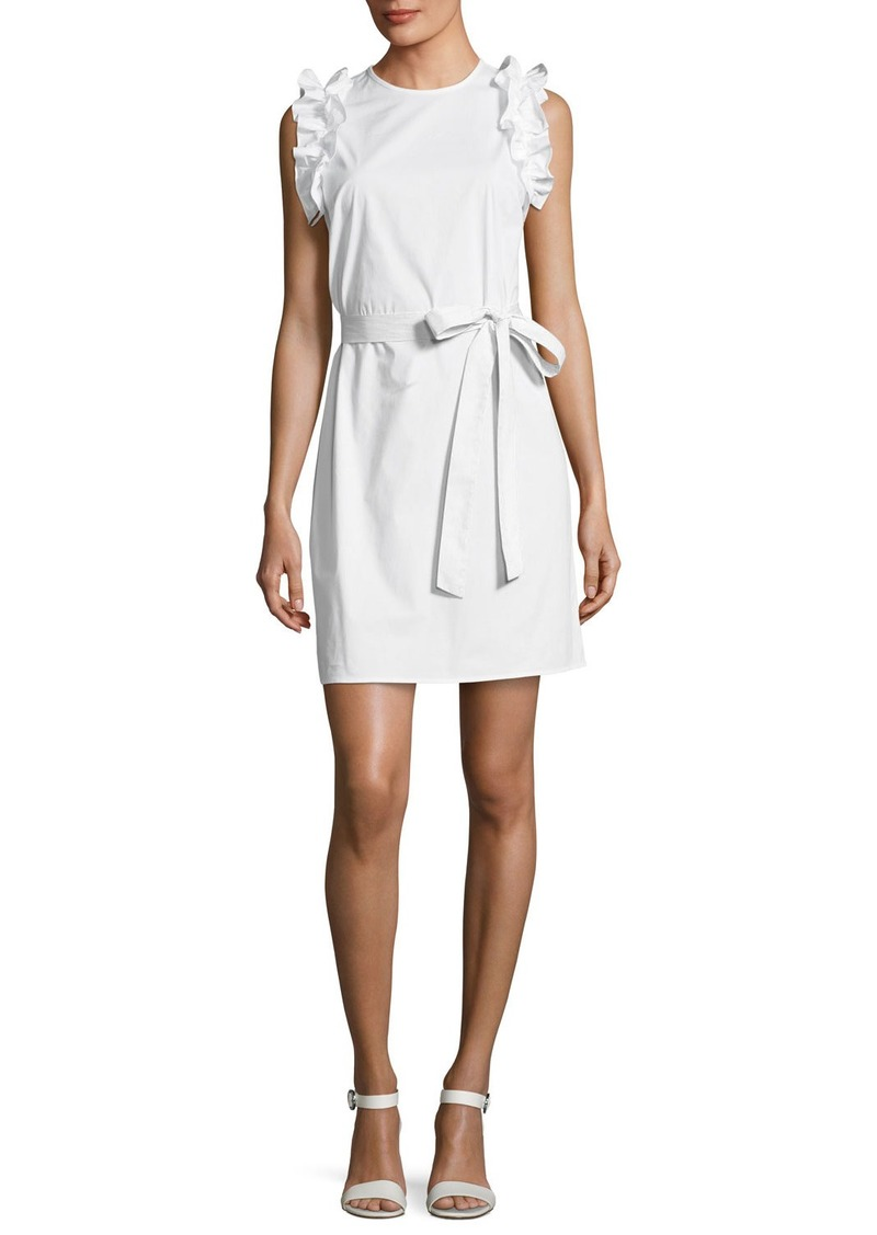 Michael Kors Ruffle Shoulder Belted Dress