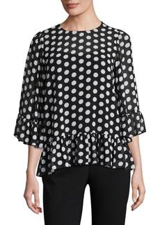 MICHAEL Michael Kors Ruffle-Trim Dot-Print Top