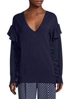MICHAEL Michael Kors Ruffle-Trim V-Neck Sweater