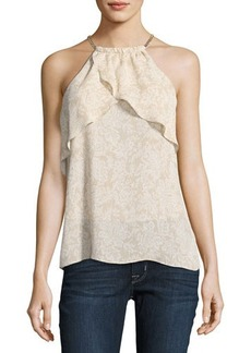 MICHAEL Michael Kors Ruffled Chain-Halter Top
