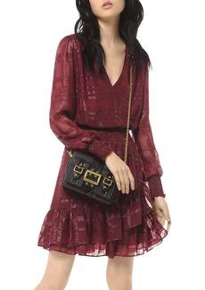 MICHAEL Michael Kors Ruffled Checked Jacquard Mini Dress
