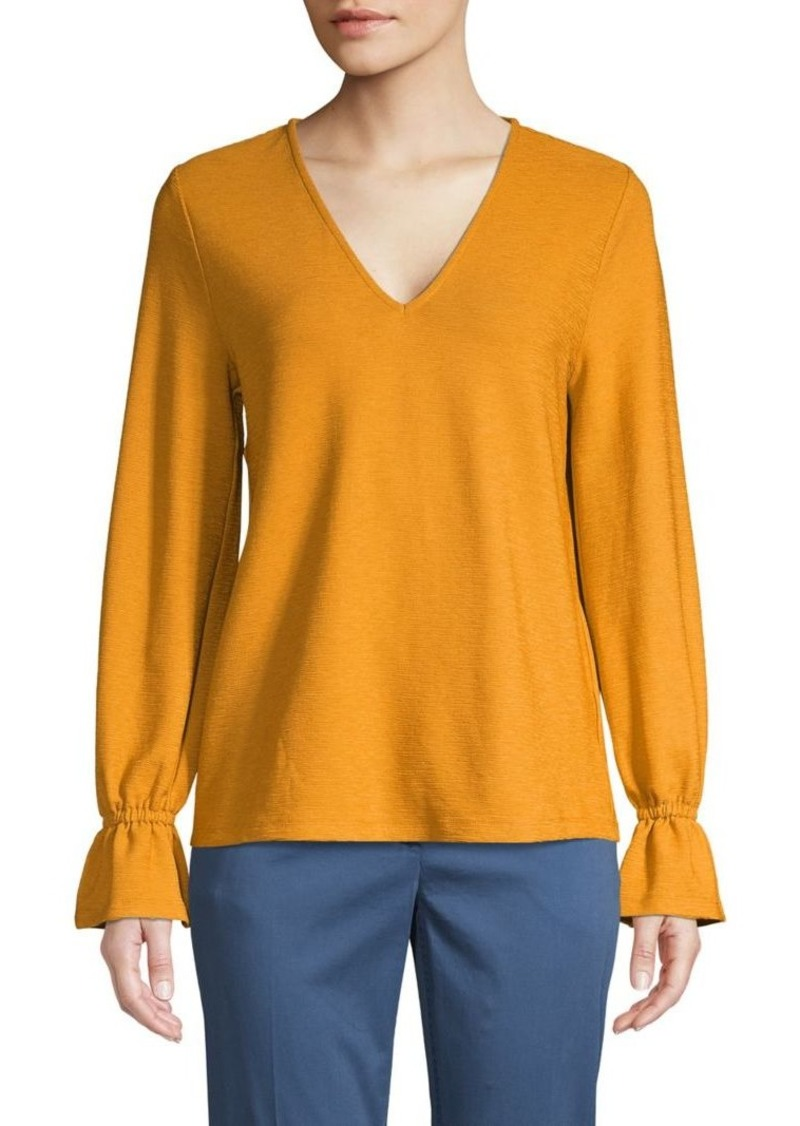 MICHAEL Michael Kors Ruffled-Cuff V-Neck Top