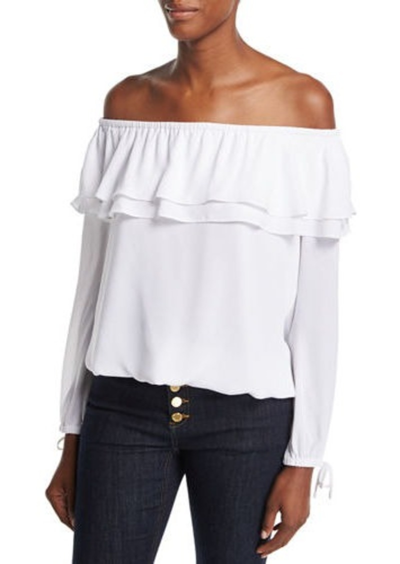 4b833eb5c44 MICHAEL Michael Kors MICHAEL Michael Kors Ruffled Off-the-Shoulder ...