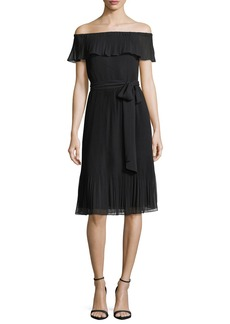 MICHAEL Michael Kors Ruffled Off-the-Shoulder Pleated Cocktail Dress