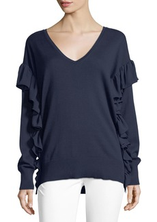 MICHAEL Michael Kors Ruffled-Trim Cotton Sweater