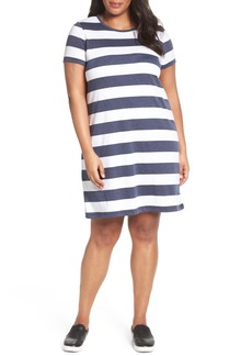 MICHAEL Michael Kors Rugby Stripe T-Shirt Dress (Plus Size)