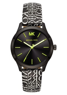 MICHAEL Michael Kors Runway Leather Strap Watch, 38mm