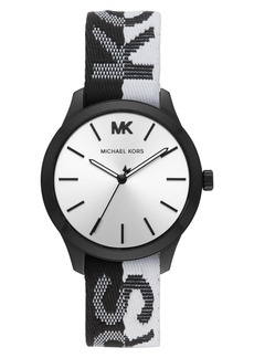 MICHAEL Michael Kors Runway Logo Nylon Strap Watch, 38mm
