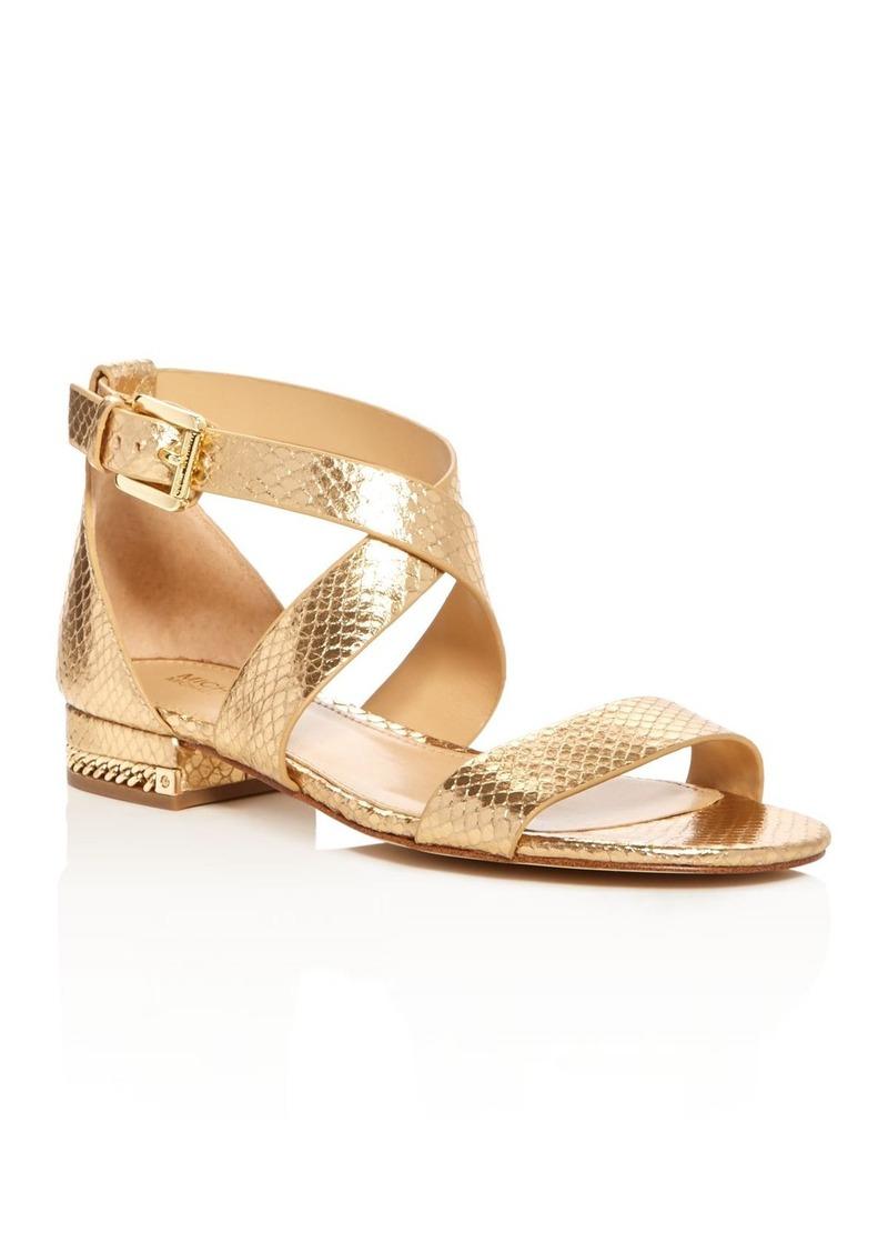 a90ea20a635 MICHAEL Michael Kors Sabrina Snake Embossed Metallic Crisscross Sandals