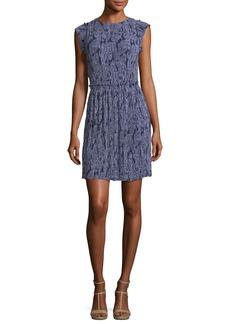MICHAEL Michael Kors Samara Cap-Sleeve Paisley-Print Plissé Dress