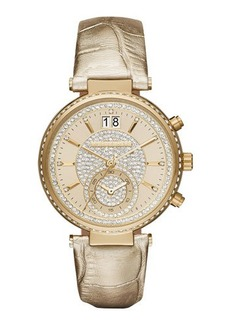 MICHAEL Michael Kors Sawyer 39mm Metallic Leather Strap Watch