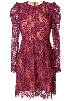 Michael Michael Kors scalloped floral lace dress - Pink & Purple