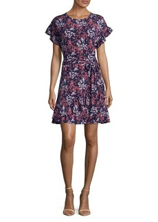 MICHAEL Michael Kors Scattered Blooms Ruffle Wrap Dress