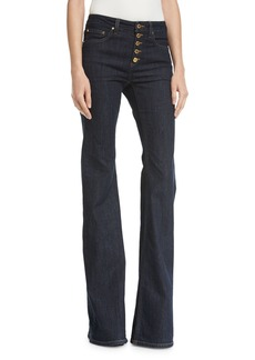 MICHAEL Michael Kors Selma Button-Front Mid-Rise Flared Jeans