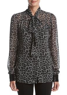 MICHAEL Michael Kors Sequin Cuff Bow Leopard Blouse