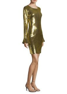 Sequin Flounce-Sleeve Dress