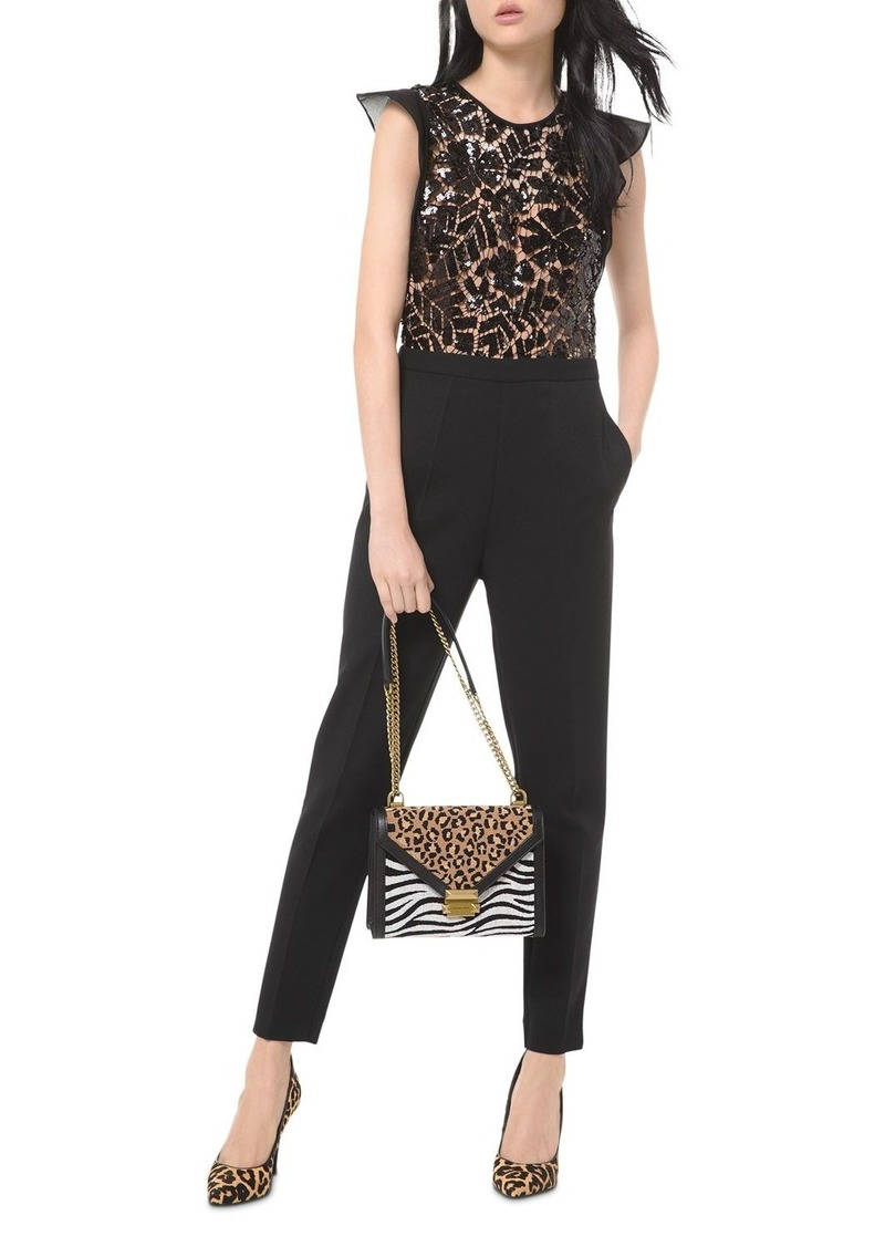 MICHAEL Michael Kors Sequined Lace-Bodice Jumpsuit