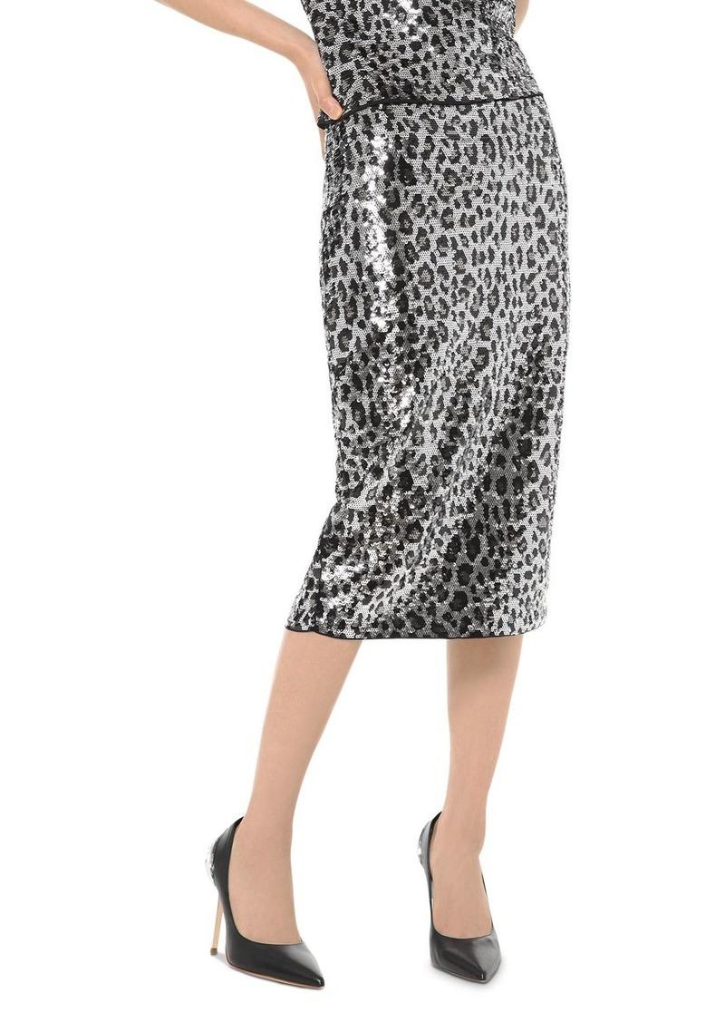 MICHAEL Michael Kors Sequined Leopard Pencil Skirt