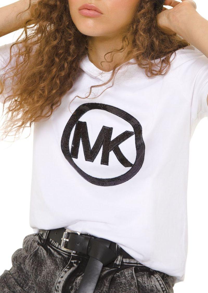 MICHAEL Michael Kors Sequined Logo Cotton-Jersey Tee