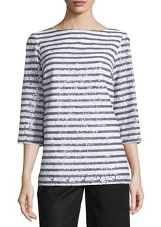 MICHAEL Michael Kors Sequined Stripe 3/4-Sleeve Tunic