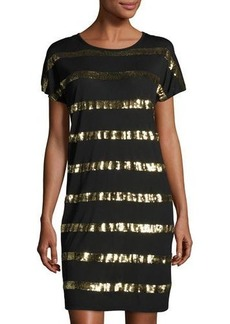 MICHAEL Michael Kors Sequined-Stripe Dolman-Sleeve Dress