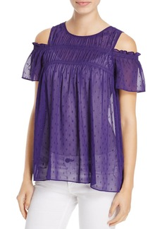 MICHAEL Michael Kors Sheer Cold-Shoulder Top