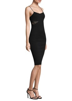 MICHAEL MICHAEL KORS Sheer Panel Strappy Knee-Length Dress