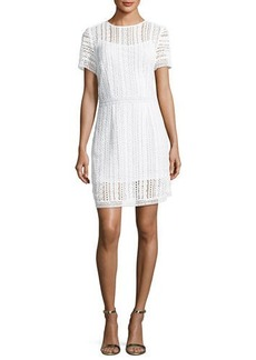 MICHAEL Michael Kors Short-Sleeve Cotton Lace Striped Dress
