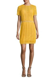 MICHAEL Michael Kors Short-Sleeve Cotton Lace Striped Dress