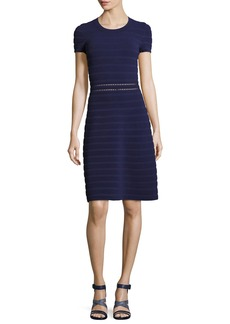 MICHAEL Michael Kors Short-Sleeve Crewneck Ottoman-Knit Dress