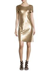 MICHAEL Michael Kors Short-Sleeve Diagonal Sequined Dress