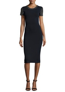 MICHAEL Michael Kors Short-Sleeve Dome-Studded Sheath Dress