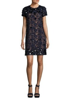 MICHAEL Michael Kors Short-Sleeve Embellished Lace Shift Dress