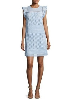 MICHAEL Michael Kors Short-Sleeve Eyelet-Combo Shift Dress