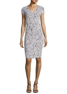 MICHAEL Michael Kors Short-Sleeve Fern-Print Textured Bodycon Dress