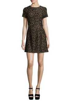 MICHAEL Michael Kors Short-Sleeve Fitted Lace Dress