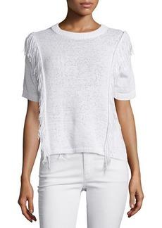 MICHAEL Michael Kors Short-Sleeve Fringe-Trim Sweater