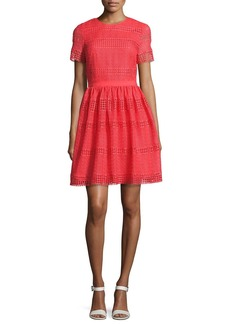 MICHAEL Michael Kors Short-Sleeve Graphic Striped Eyelet Dress