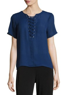 MICHAEL Michael Kors Short-Sleeve Grommet Lace-Up Tee