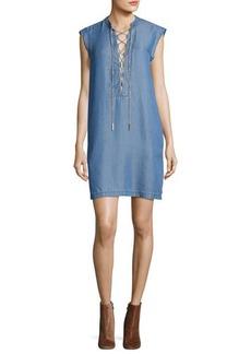 MICHAEL Michael Kors Short-Sleeve Lace-Up Chambray Shift Dress