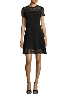 MICHAEL Michael Kors Short-Sleeve Mesh-Combo Dress