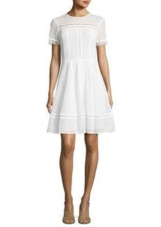 MICHAEL Michael Kors Short-Sleeve Mixed-Eyelet A-Line Dress