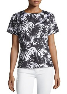 MICHAEL Michael Kors Short-Sleeve Pleated Palm-Print Blouse