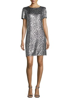 MICHAEL Michael Kors Short-Sleeve Sequined Tulle Shift Dress
