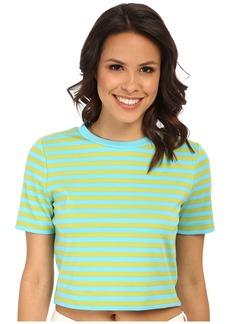 MICHAEL Michael Kors Short Sleeve Stripe Printed Crop Top
