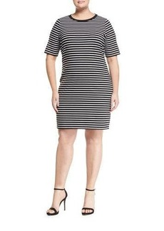 MICHAEL Michael Kors Plus Short-Sleeve Striped Shift Dress