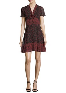 MICHAEL Michael Kors Short-Sleeve Tie-Neck Star-Print Dress