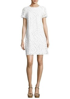 MICHAEL Michael Kors Short-Sleeve Zebra Jacquard Shift Dress
